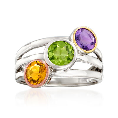 1.90 ct. t.w. Multi-Gemstone Ring in Tri-Colored Sterling Silver