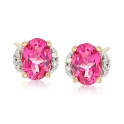 1.90 ct. t.w. Pink Topaz Earrings in 14kt Yellow Gold. , , default
