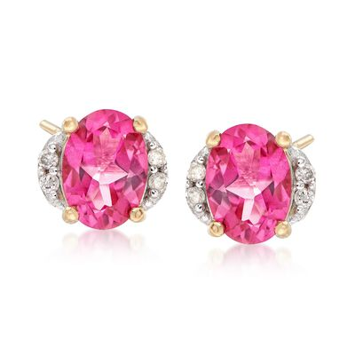 1.90 ct. t.w. Pink Topaz Earrings with Diamond Accents in 14kt Yellow Gold, , default
