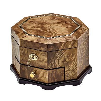 Burlwood with Inlay Octagonal Locking Jewelry Box, , default