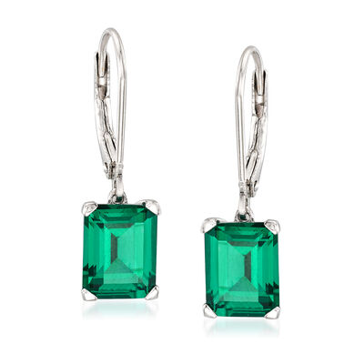 6.00 ct. t.w. Simulated Emerald Drop Earrings in Sterling Silver, , default