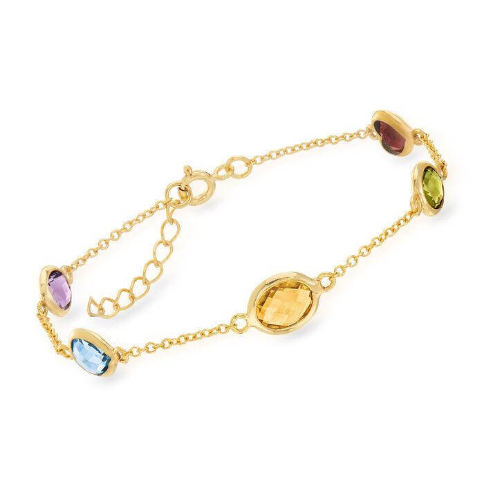 """5.50 ct. t.w. Multi-Stone Station Bracelet in 18kt Gold Over Sterling. 7"""", , default"""