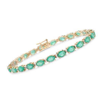 9.10 ct. t.w. Emerald and .29 ct. t.w. Diamond Tennis Bracelet in 14kt Yellow Gold, , default