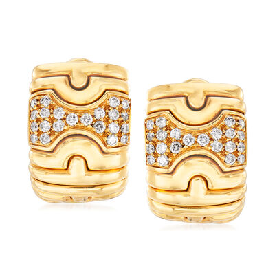 C. 1980 Vintage Bulgari .65 ct. t.w. Diamond Shield Clip-On Earrings in 18kt Yellow Gold, , default