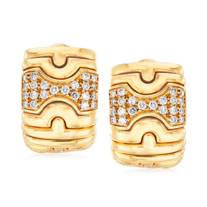 C. 1980 Vintage Bulgari .65 ct. t.w. Diamond Shield Clip-On Earrings in 18kt Yellow Gold