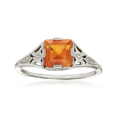 C. 1950 Vintage .80 Carat Citrine Ring in 18kt White Gold, , default