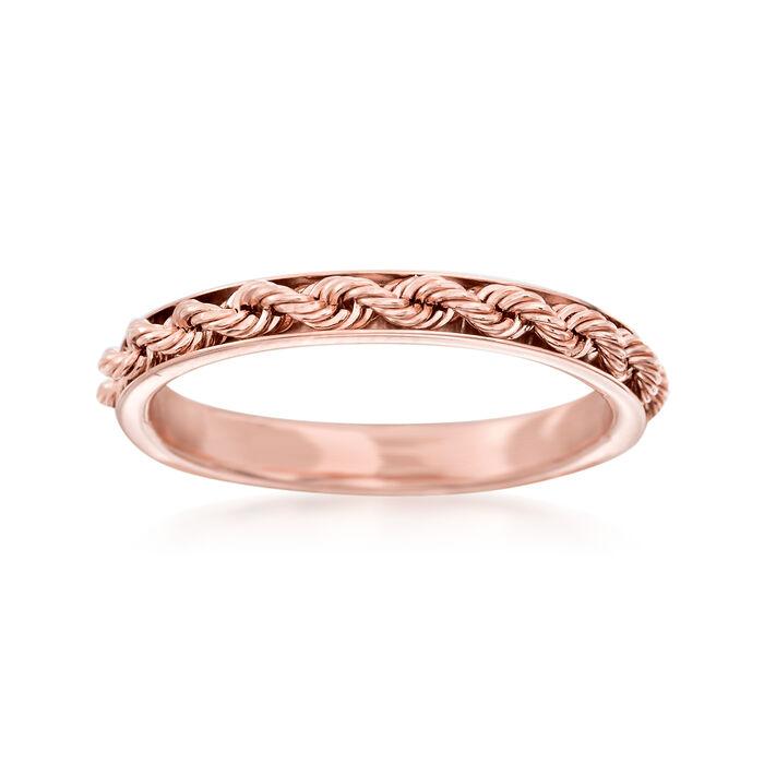 Italian 14kt Rose Gold Rope Design Ring. Size 5