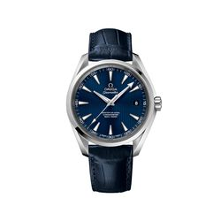 Omega Seamaster Men's 41.5mm Stainless Steel Watch With Blue Dial and Leather Strap , , default