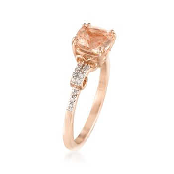 1.40 Carat Morganite and .10 ct. t.w. Diamond Ring in 14kt Rose Gold Over Sterling
