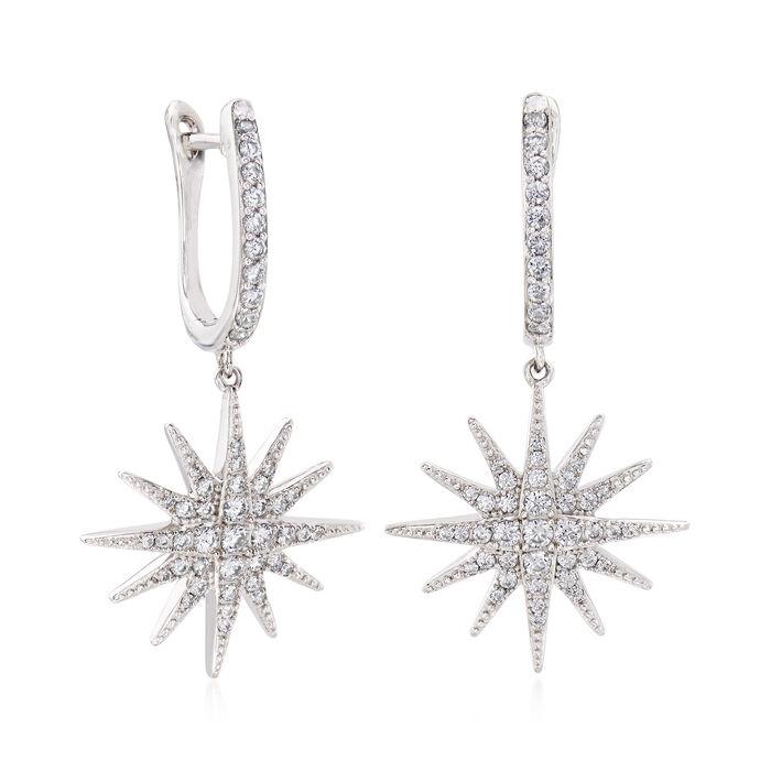.76 ct. t.w. CZ Star Drop Earrings in Sterling Silver