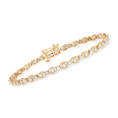 2.00 ct. t.w. Diamond Beaded Frame Bracelet in 14kt Yellow Gold, , default