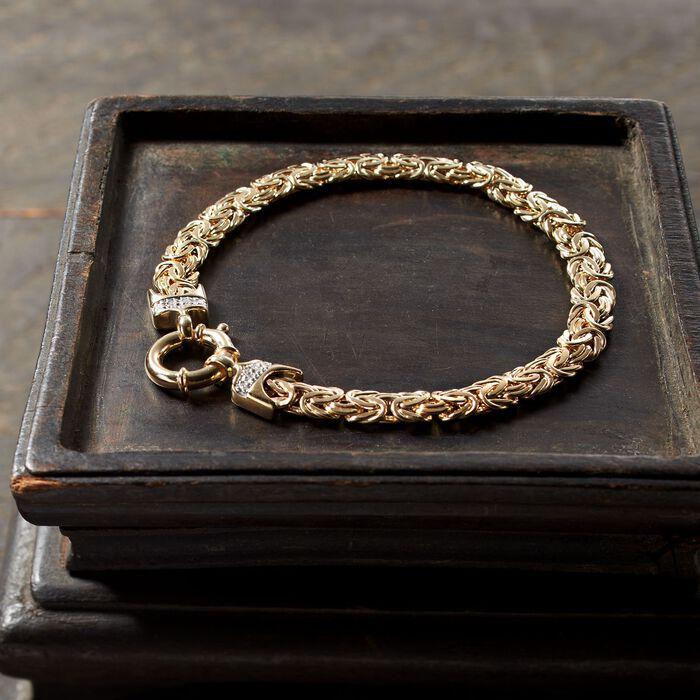 14kt Yellow Gold Byzantine Bracelet with Diamond Accents