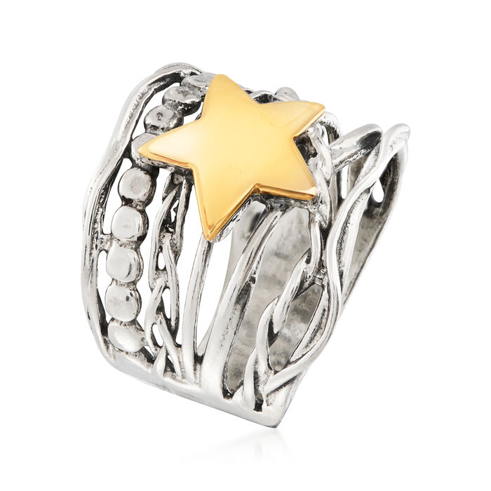 Sterling Silver and 14kt Yellow Gold Star Ring