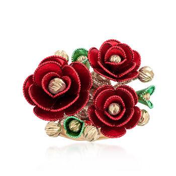 Italian 14kt Multicolored Gold Rose Ring, , default