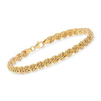 """Italian 14kt Yellow Gold Small Rosette-Link Bracelet. 7"""", , default"""