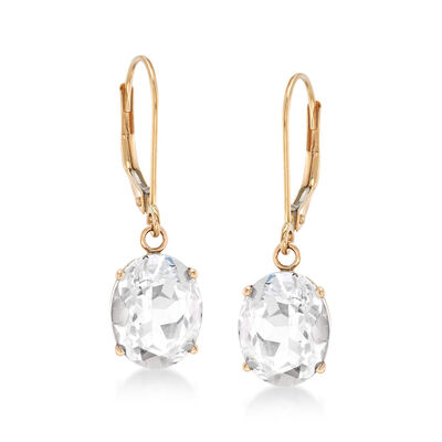 7.00 ct. t.w. White Topaz Drop Earrings in 14kt Yellow Gold, , default