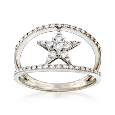 C. 1990 Vintage .31 ct. t.w. Diamond Star Ring in 18kt White Gold