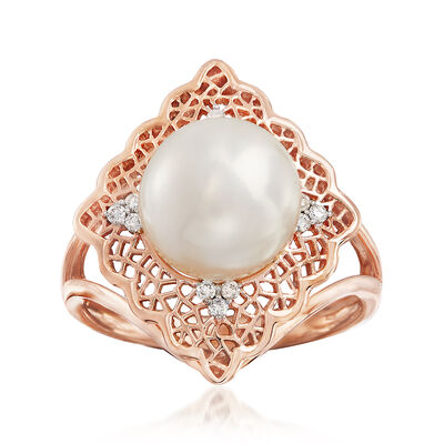 9.5-10mm Cultured Pearl and .10 ct. t.w. Diamond Filigree Ring in 14kt Rose Gold, , default