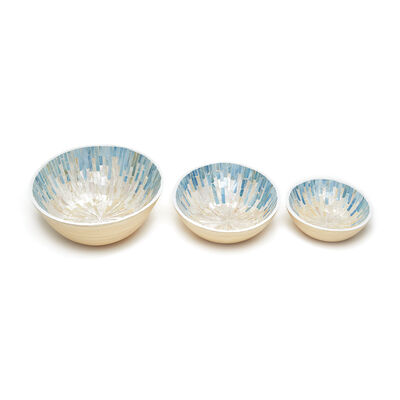 """Set of 3 """"Palawan Mosaic"""" Mother-Of-Pearl Lacquered Oval Bamboo Bowls, , default"""