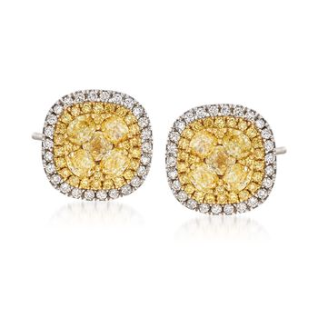 Gregg Ruth 1.98 ct. t.w. Yellow and White Diamond Halo Stud Earrings in 18kt Two-Tone Gold , , default