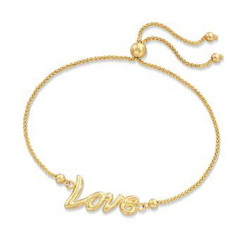 """14kt Yellow Gold """"Love"""" Bolo Bracelet, , default"""