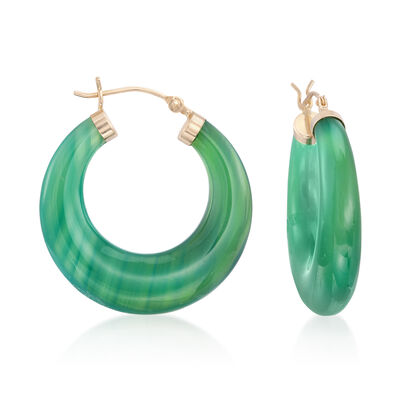 Green Agate Hoop Earrings in 14kt Yellow Gold, , default