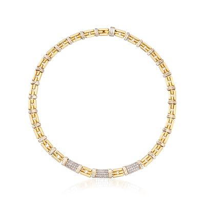 C. 1990 Vintage 1.10 ct. t.w. Pave Diamond Station Link Necklace in 18kt Yellow Gold, , default