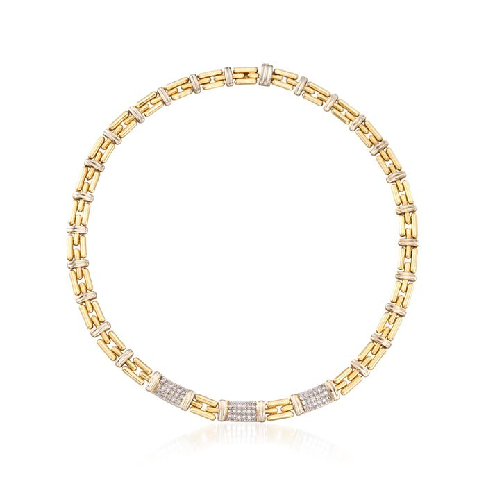 C. 1990 Vintage 1.10 ct. t.w. Pave Diamond Station Link Necklace in 18kt Yellow Gold. 16.5""