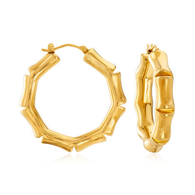 Italian Andiamo 14kt Yellow Gold Bamboo-Style Hoop Earrings