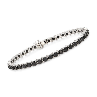 8.00 ct. t.w. Black Diamond Tennis Bracelet in 14kt White Gold, , default