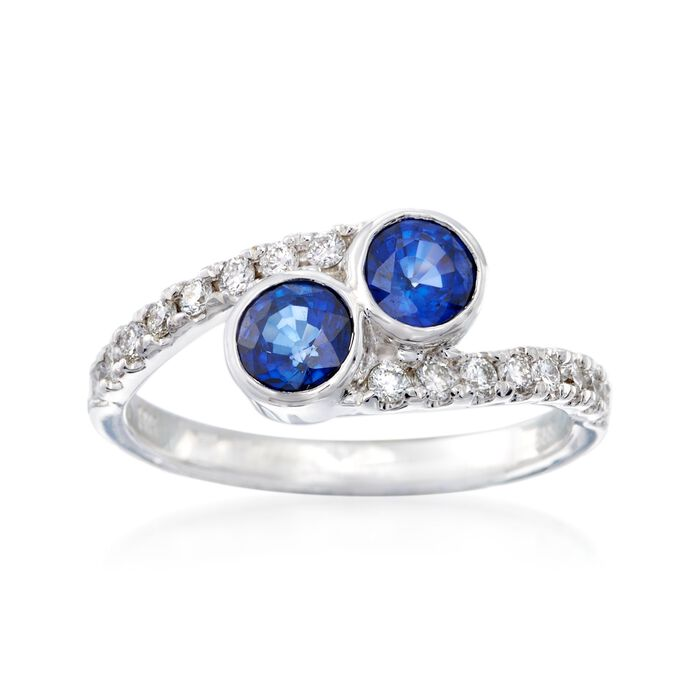 1.00 ct. t.w. Sapphire and .32 ct. t.w. Diamond Two-Stone Ring in 14kt White Gold, , default