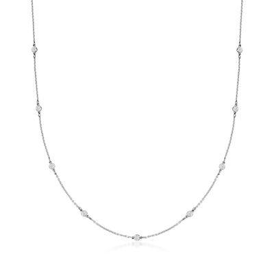 C. 1980 Vintage .90 ct. t.w. Bezel-Set Diamond Station Necklace in Platinum