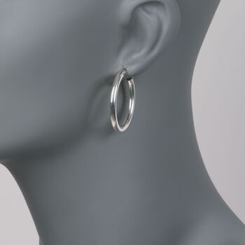 "Zina Sterling Silver Hoop Earrings. 1 1/4"", , default"