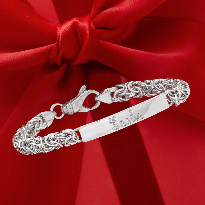 Italian Sterling Silver Byzantine Name Bar ID Bracelet