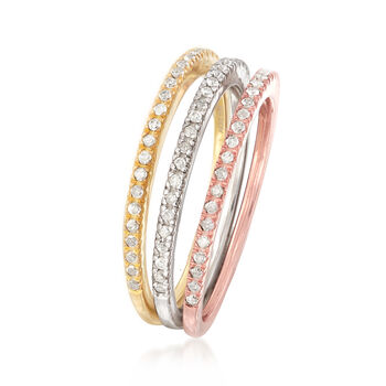 Set of Three .33 ct. t.w. Diamond Rings in Tri-Colored Sterling Silver, , default