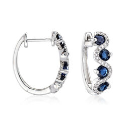 1.30 ct. t.w. Sapphire and .15 ct. t.w. Diamond Hoop Earrings in 14kt White Gold, , default