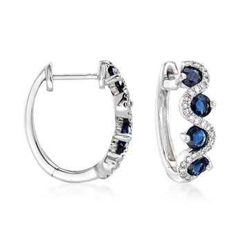 """1.30 ct. t.w. Sapphire and .15 ct. t.w. Diamond Hoop Earrings in 14kt White Gold. 1/2"""", , default"""