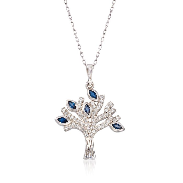 .40 ct. t.w. Sapphire and .30 ct. t.w. White Topaz Tree of Life Pendant Necklace in Sterling