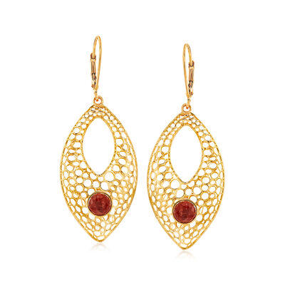 2.50 ct. t.w. Ruby Openwork Drop Earrings in 14kt Yellow Gold