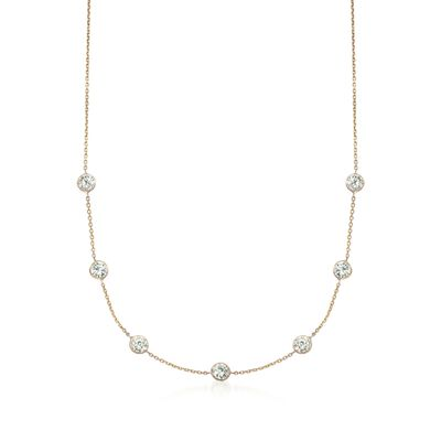 3.50 ct. t.w. CZ Station Necklace in 14kt Yellow Gold