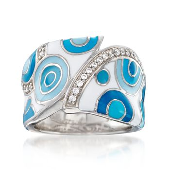"""Belle Etoile """"Groovy"""" .15 ct. t.w. CZ and Aqua Enamel Ring in Sterling Silver. Size 7, , default"""