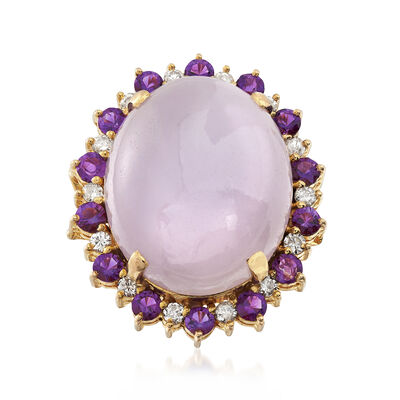 C. 1980 Vintage Oval Lavender Jade Ring With .70 ct. t.w. Amethysts and .40 ct. t.w. Diamonds in 14kt Yellow Gold, , default