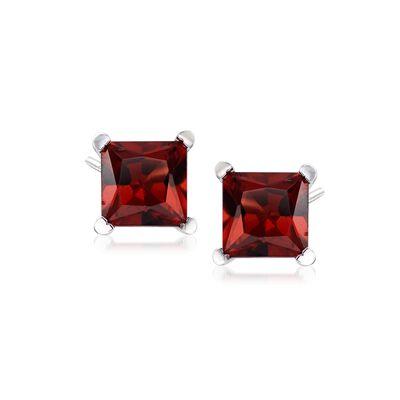 2.30 ct. t.w. Princess-Cut Garnet Stud Earrings in Sterling Silver, , default