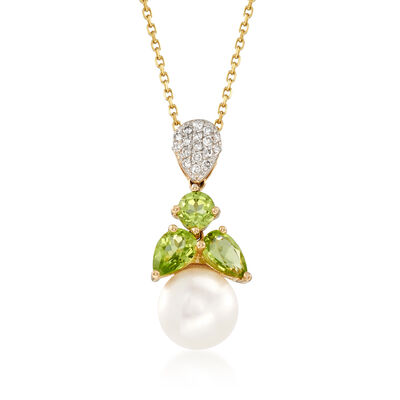 8-8.5mm Cultured Pearl and 1.13 ct. t.w. Peridot and Diamond Pendant Necklace 14kt Yellow Gold, , default