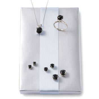 3.00 Carat Black Diamond Solitaire Necklace in 14kt White Gold