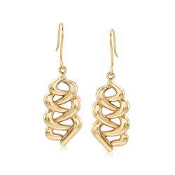14kt Yellow Gold Open Braid Drop Earrings, , default