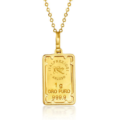 Italian 24kt Yellow Gold and 14kt Yellow Gold One-Gram Ingot Bar Pendant Necklace