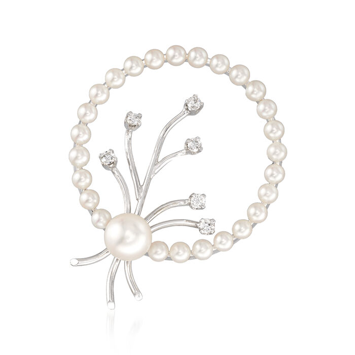 C. 1990 Vintage Cultured Pearl and .25 ct. t.w. Diamond Circle Pin in 14kt White Gold, , default