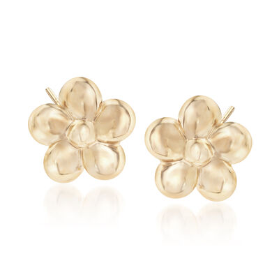 14kt Yellow Gold Flower Stud Earrings, , default