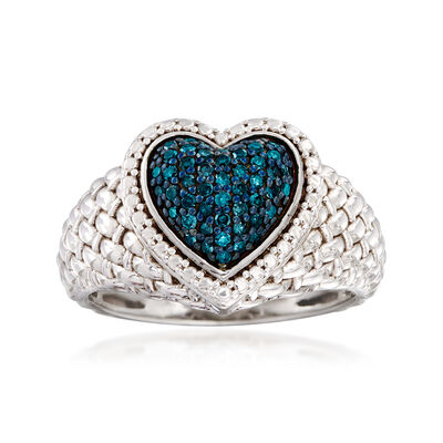 .25 ct. t.w. Blue Diamond Heart Ring in Sterling Silver, , default